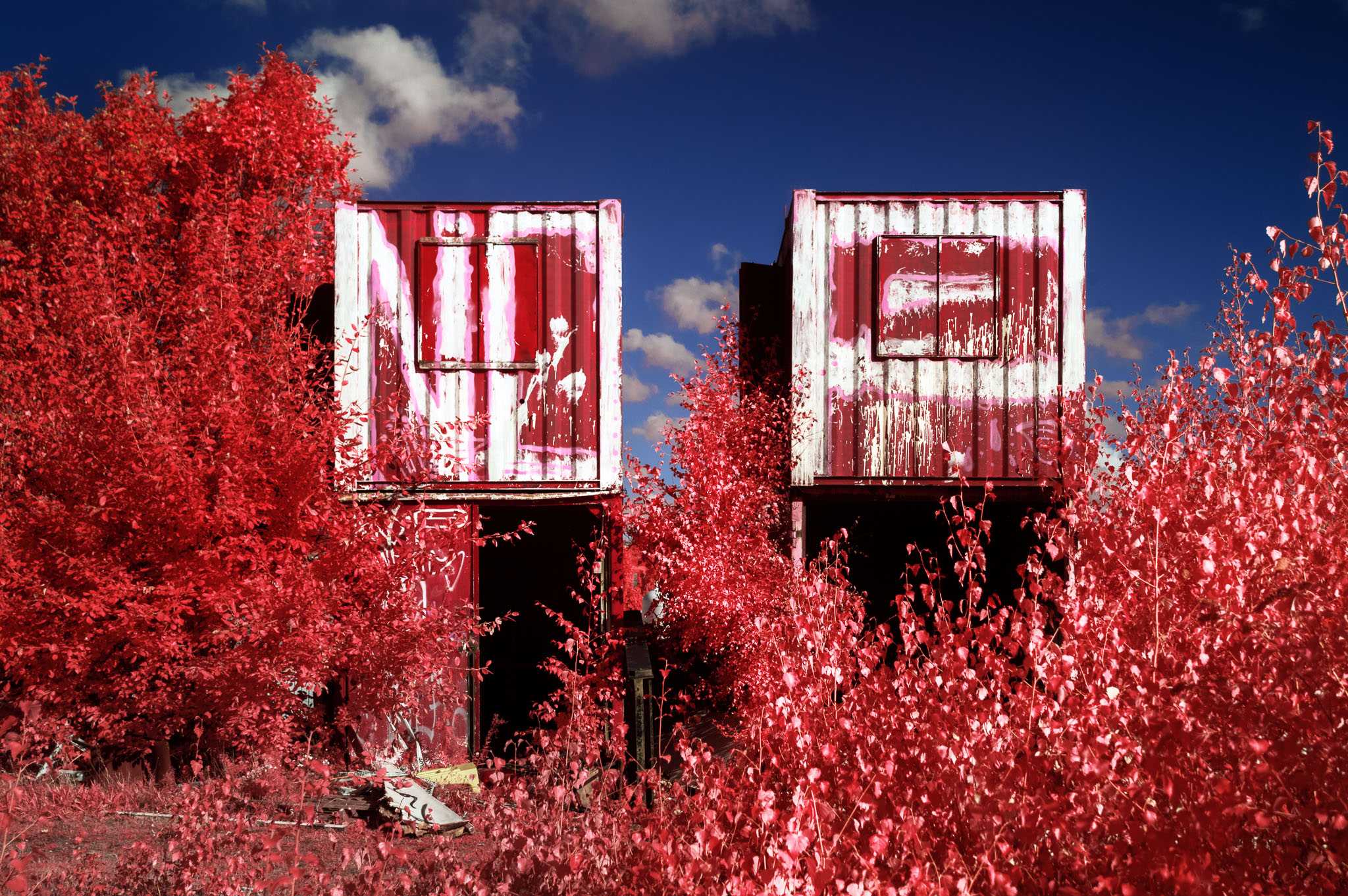 Kodak EIR Colour Infrared, Edgelands, Wasteland, Out of sight,  Shipping containers