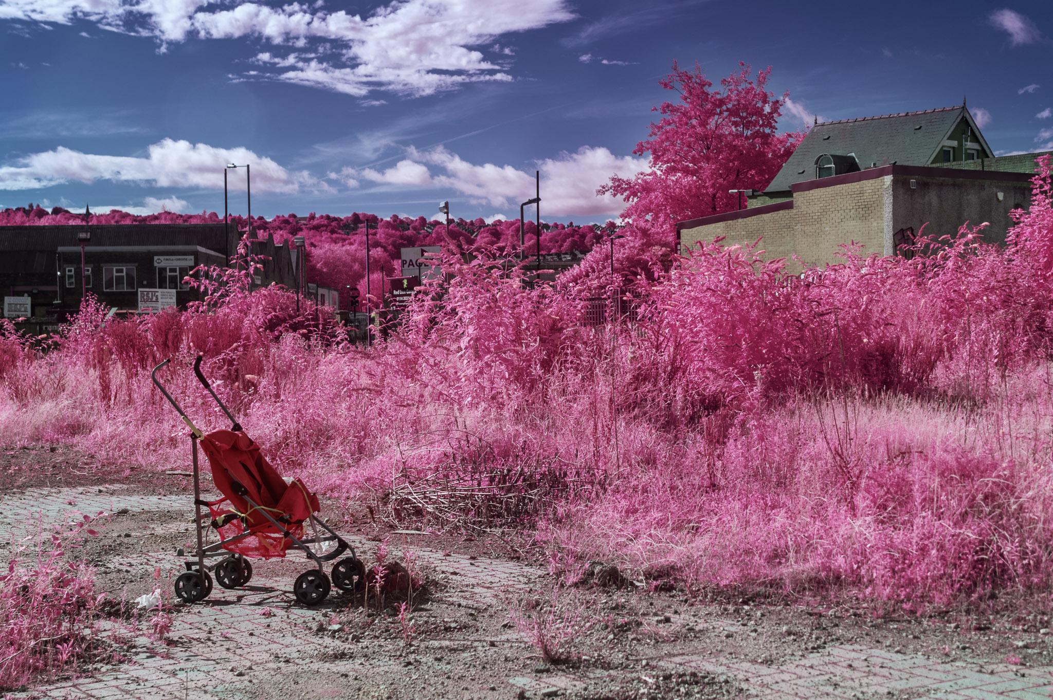 Kodak EIR Colour Infrared, Edgelands, Wasteland, Out of sight,  Push chair, Stroller, ©Jonny Sutton