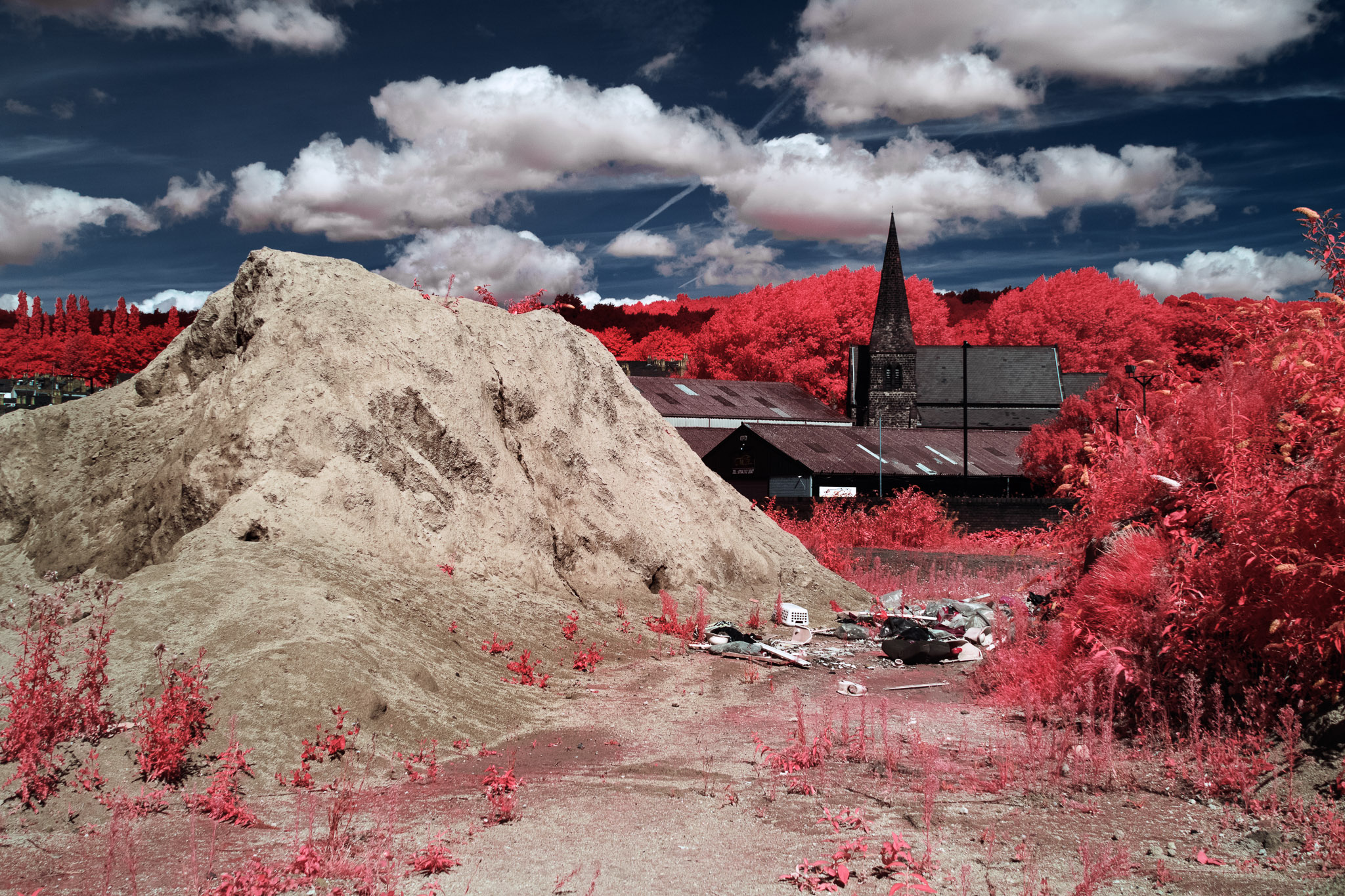 Kodak EIR Colour Infrared, Edgelands, Wasteland, Out of sight,  Church ©Jonny Sutton