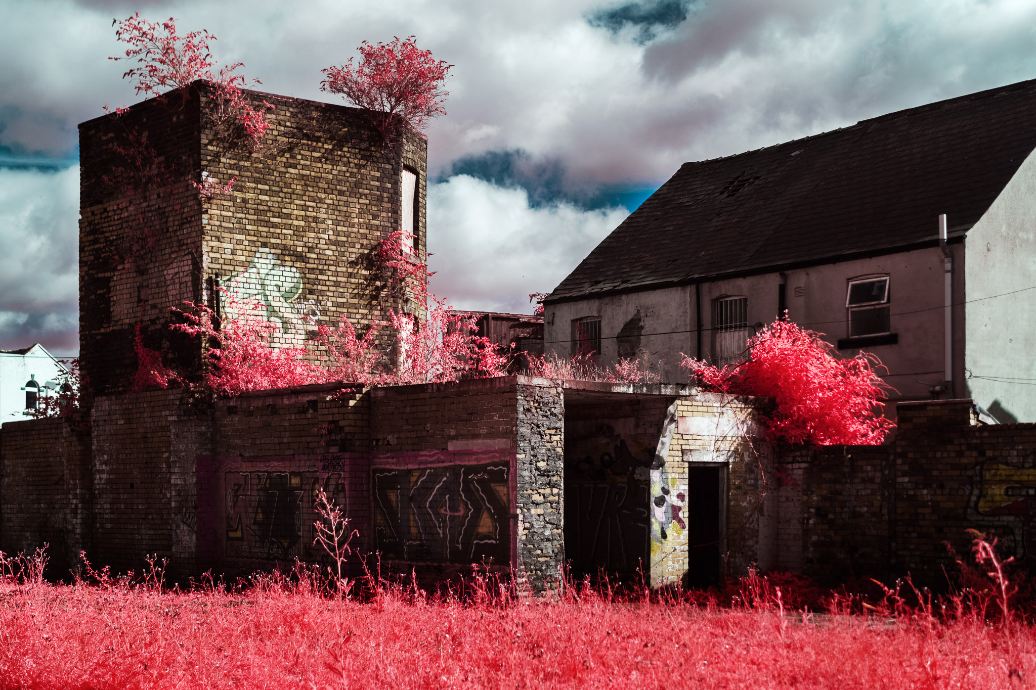 Kodak EIR Colour Infrared, Edgelands, Wasteland, Out of sight,  Tower ©Jonny Sutton
