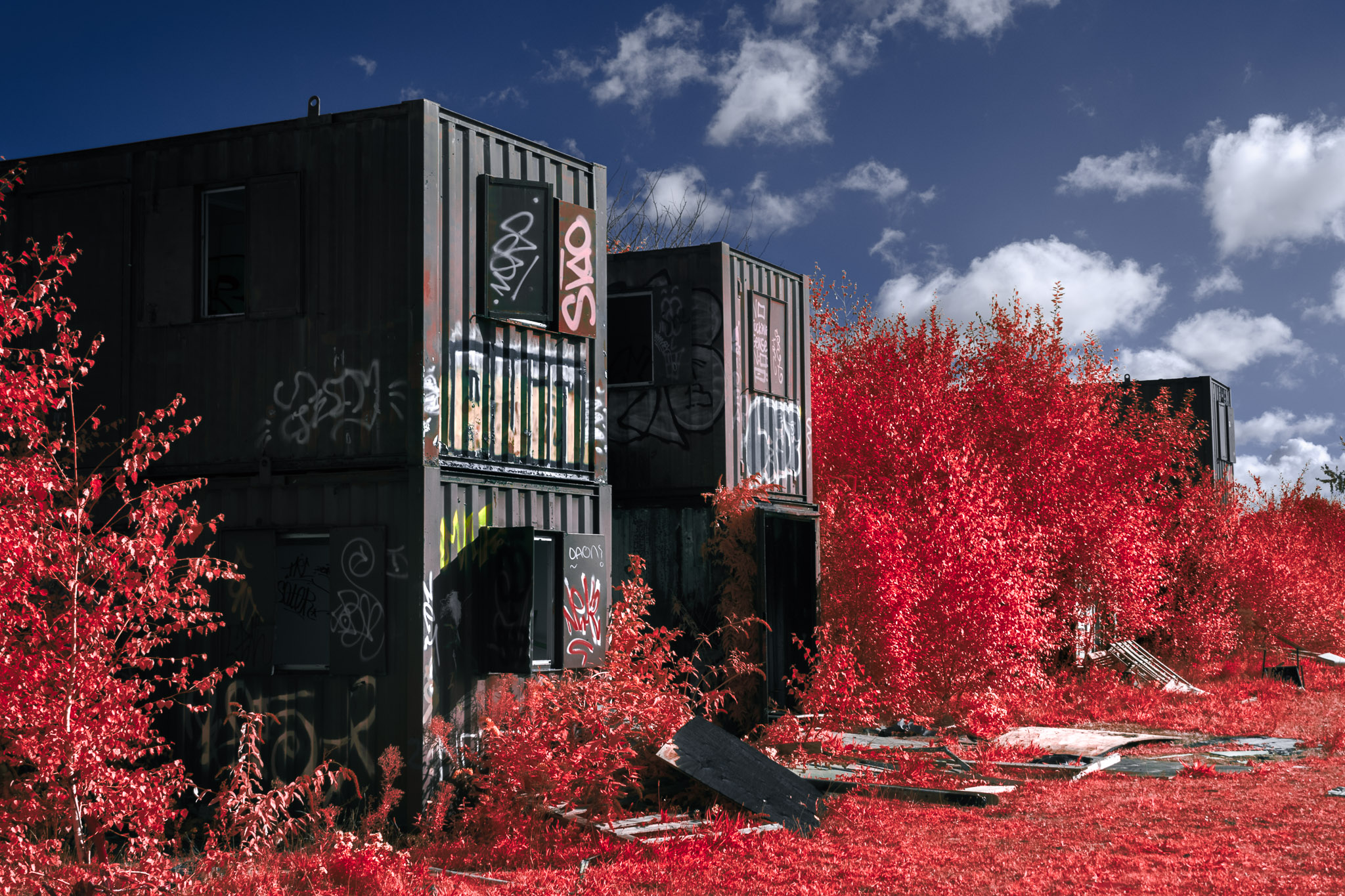 Kodak EIR Colour Infrared, Edgelands, Wasteland, Out of sight,  Portacabins ©Jonny Sutton
