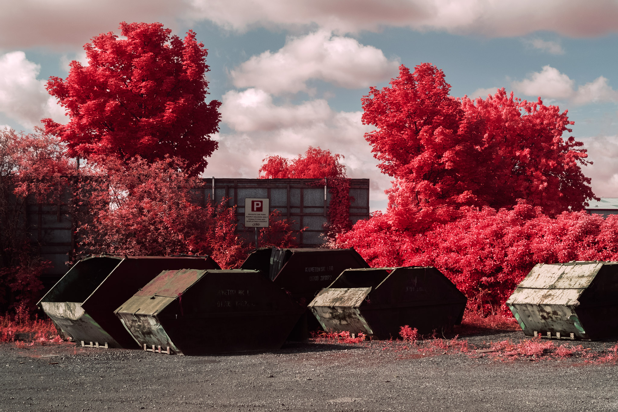 Kodak EIR Colour Infrared, Edgelands, Wasteland, Out of sight,  Skips ©Jonny Sutton