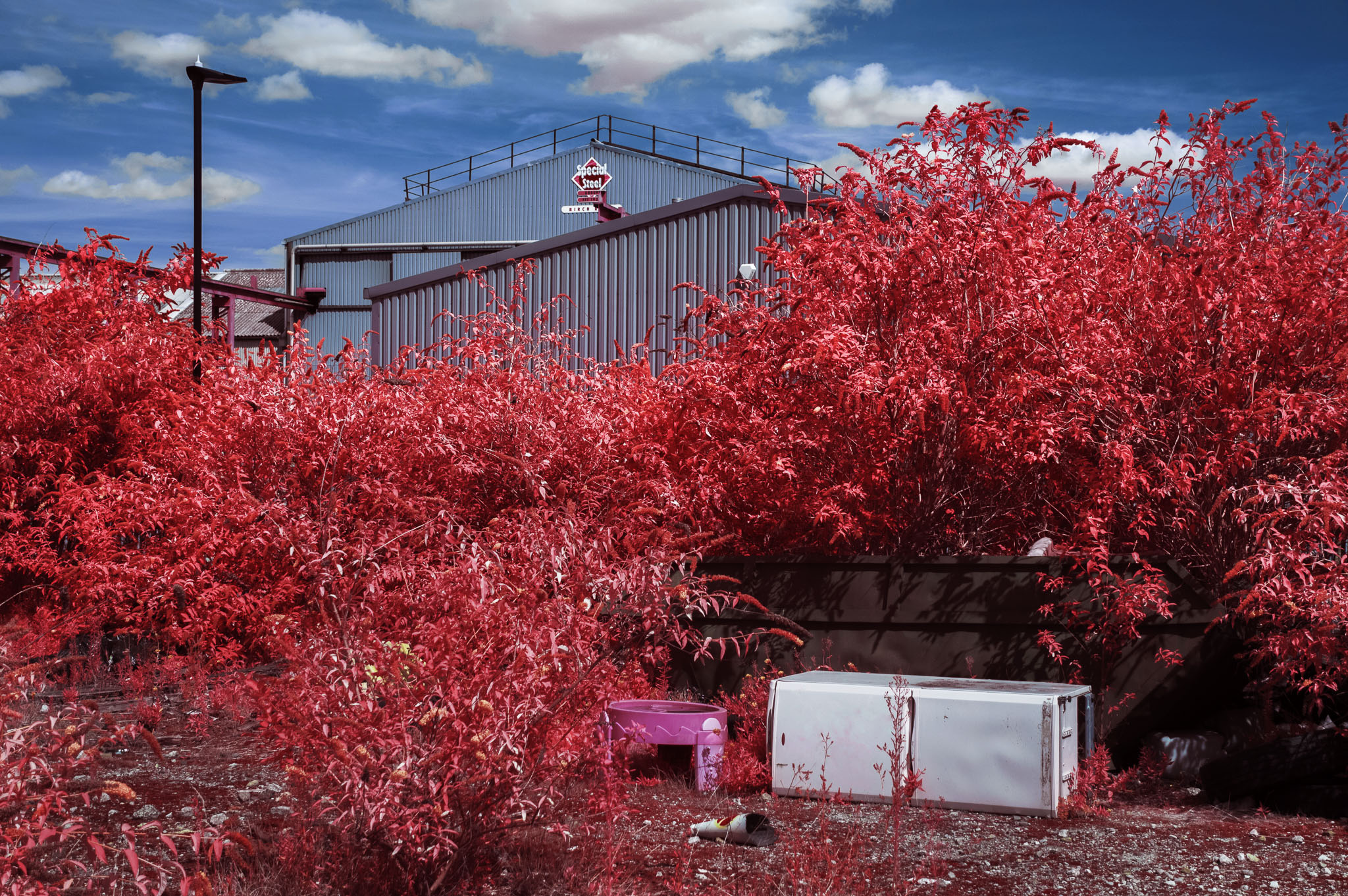 Kodak EIR Colour Infrared, Edgelands, Wasteland, Out of sight, Fridge, Sandpit, Warehouse ©Jonny Sutton
