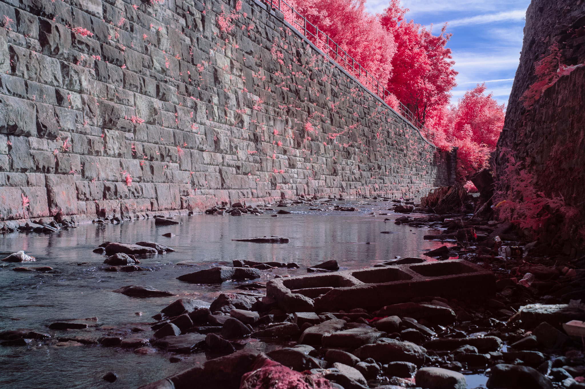 Kodak EIR Colour Infrared, Edgelands, Wasteland, Out of sight, River, Construction Blocks ©Jonny Sutton